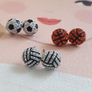 Vallyball rhinestone earrings